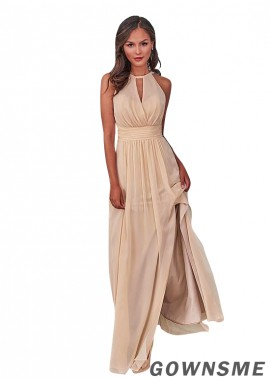 A-line Full length Chiffon Bridesmaid Dress with Front split-Gownsme