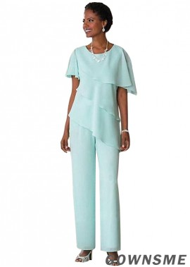 Full length Chiffon Mother Of The Bride Trousers-Gownsme