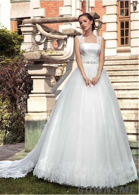 Ball-Gown square Neck Cathedral Train Tulle Lace Wedding Dress -Gownsme