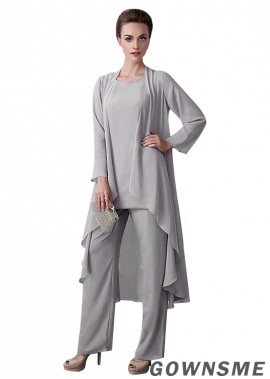 Full length Chiffon Grandmother Of The Groom Pants Suits with Coat-Gownsme