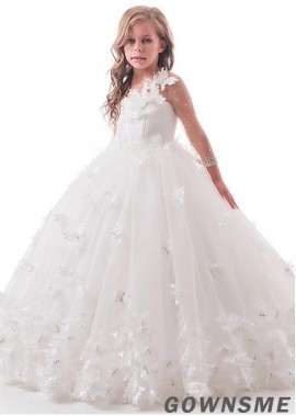Ball-gown Floor-length Tulle & lace Flower Girl Dress with butterfly-Gownsme