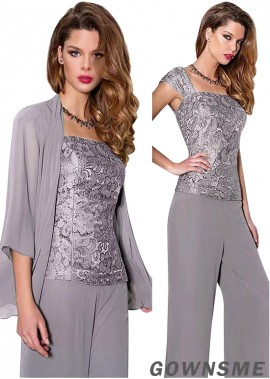 Square Full length Chiffon lace Wedding Trouser Suits For Mother Of The Bride with jacket-Gownsme