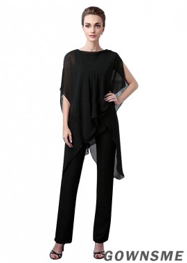 Bateau Full length Chiffon Mother Of The Bride Pants Suits -Gownsme