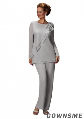 Full length Chiffon Wedding Mother Of The Bride Pant Suits with Long sleeve-Gownsme