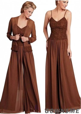 Spaghetti straps Full length Chiffon Mother Of The Bride Pants Suits with Coat-Gownsme