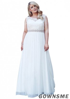 Gownsme Plus Size Wedding Dresses With Beading Sash On The Waist