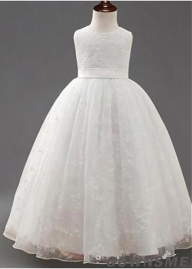 Ball-gown scoop Floor-length Lace Flower Girl Dress-Gownsme