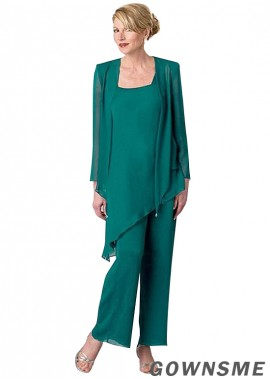 Scoop Ankle length Chiffon Mother Of The Bride Pants Suits with jacket -Gownsme