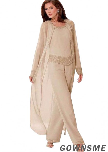 Scoop Full length Chiffon Ladies Trouser Suits For Weddings Online-Gownsme