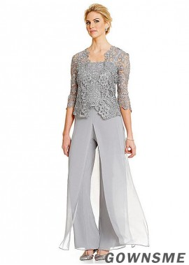 Spaghetti straps Full length Chiffon Mother Of The Bride Pants Suits with jacket-Gownsme