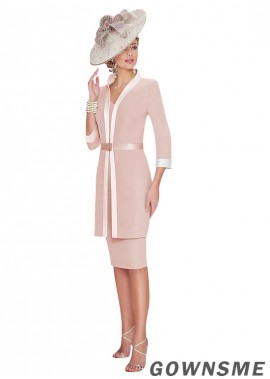 Sheath High collar Knee-length Satin Mother Of The Bride Dress with jacket-Gownsme