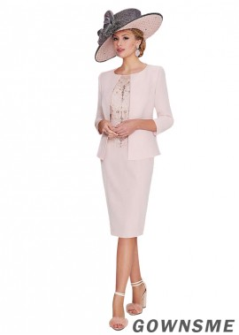 Bateau Sheath Knee-length Tulle satin Mother Of The Bride Dress with jacket-Gownsme