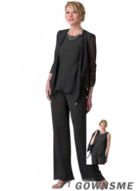 Jewel Full length Chiffon Mother Of The Bride Pants Suits with Coat-Gownsme