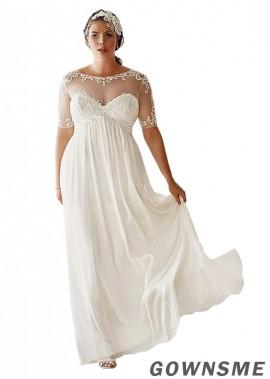 Gownsme Simple Plus Size Wedding Dress