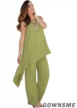 Full length Chiffon Mother Of The Bride Pants Suits with sleeveless-Gownsme