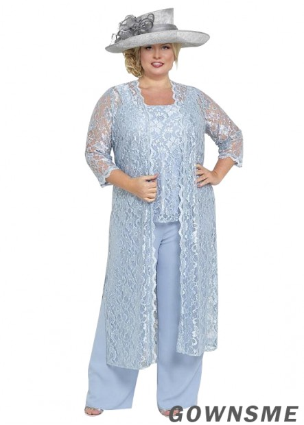 Square Full length chiffon lace Plus Size Wedding Trouser Suits For Mother Of The Bride with Coat-Gownsme