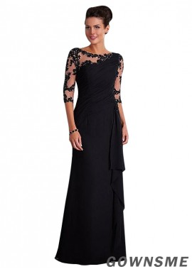 Illusion Sheath Full length Tulle chiffon Mother Of The Bride Dress-Gownsme