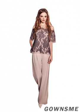 Bateau Illusion Full length Chiffon Mother Of The Bride Pants Suits-Gownsme