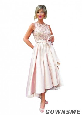 A-line Asymmetrical Tulle satin Mother Of The Bride Dress-Gownsme