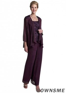 Scoop Full length chiffon lace Mother Of The Bride Pants Suits with jacket-Gownsme