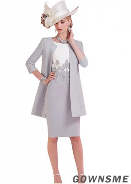 Scoop Sheath Knee-length Satin Mother Of The Bride Dress with jacket-Gownsme