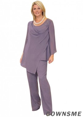 Scoop Illusion Full length Chiffon Mother Of The Bride Pants Suits-Gownsme