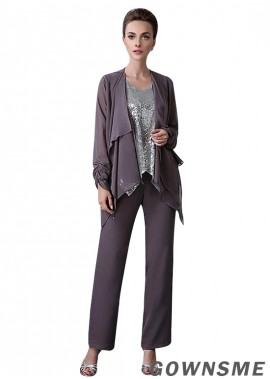 Scoop Full length Sequin lace Mother Of The Bride Pants Suits with Coat-Gownsme