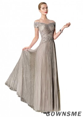 A-line Off-the-shoulder Full length Tulle Mother Of The Bride Dress with Pleats-Gownsme