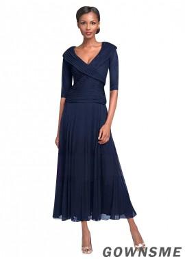 A-line V-neck Tea-length Chiffon Mother Of The Bride Dress-Gownsme