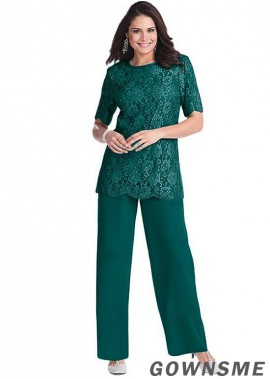 Jewel Full length Lace chiffon Mother Of The Bride Pantsuits -Gownsme