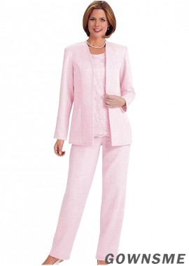 Scoop Full length Satin Mother Of The Bride Pants Suits with Coat-Gownsme