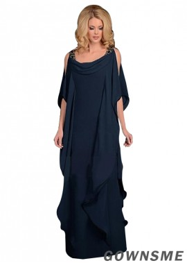 Sheath Scoop Full length Chiffon Mother Of The Bride Dress-Gownsme