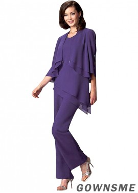 Scoop Full length Chiffon Mother Of The Bride Pants Suits with jacket-Gownsme