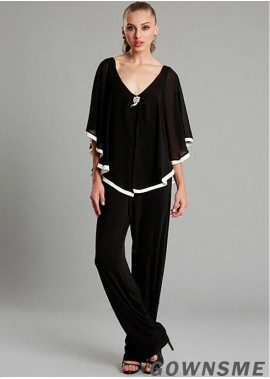 V-neck Full length Chiffon Mother of the Bride Pants Suit-Gownsme