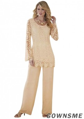 Scoop Full length Chiffon lace Mother Of The Bride Pants suits-Gownsme